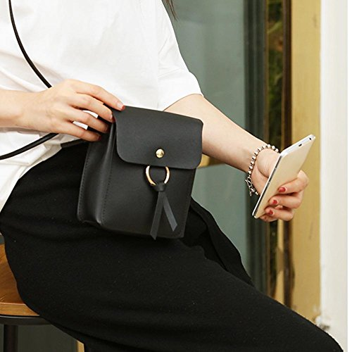 Women Mini Purse Leather Bag Casual Coin Hasp Domybest Pure Shoulder Messenger Phone Black fPFEqnYw