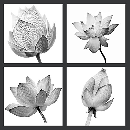 Panels Flowers Artwork Black and White Elegant Floral Canvas Art Print Blooming Lotus Picture Framed Water Lily Wall Art Painting Home Decor for Bedroom (Lotus Flower Framed)