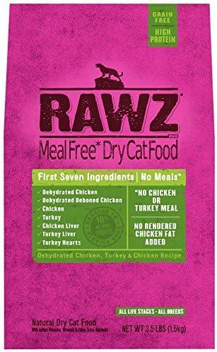 Rawz Meal Free Dry Cat Food Dehydrated Chicken, Turkey Chicken Recipe 3.5 lb