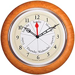 Stylish Round Contemporary Maple Analog Day Of The Week And Time Wall Clock