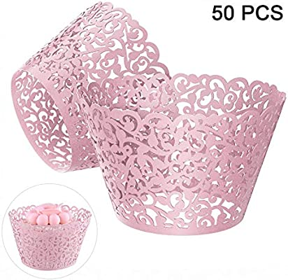 100 x White Pearl Lace Filigree Wedding Cupcake Wrapper Baking Cake Cups Wraps