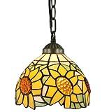 Amora Lighting AM1095HL08 Tiffany Style Sunflower Hanging Pendant Lamp - 8-Inch