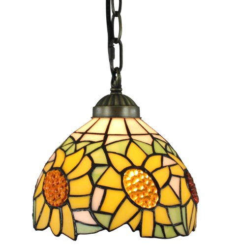 Amora Lighting AM1095HL08 Tiffany Style Sunflower Hanging Pendant Lamp, 8
