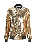 IRISIE Women Sequins Ribbed Long Sleeve Baseball Collar Zipper Jacket Coat(L,Gold)