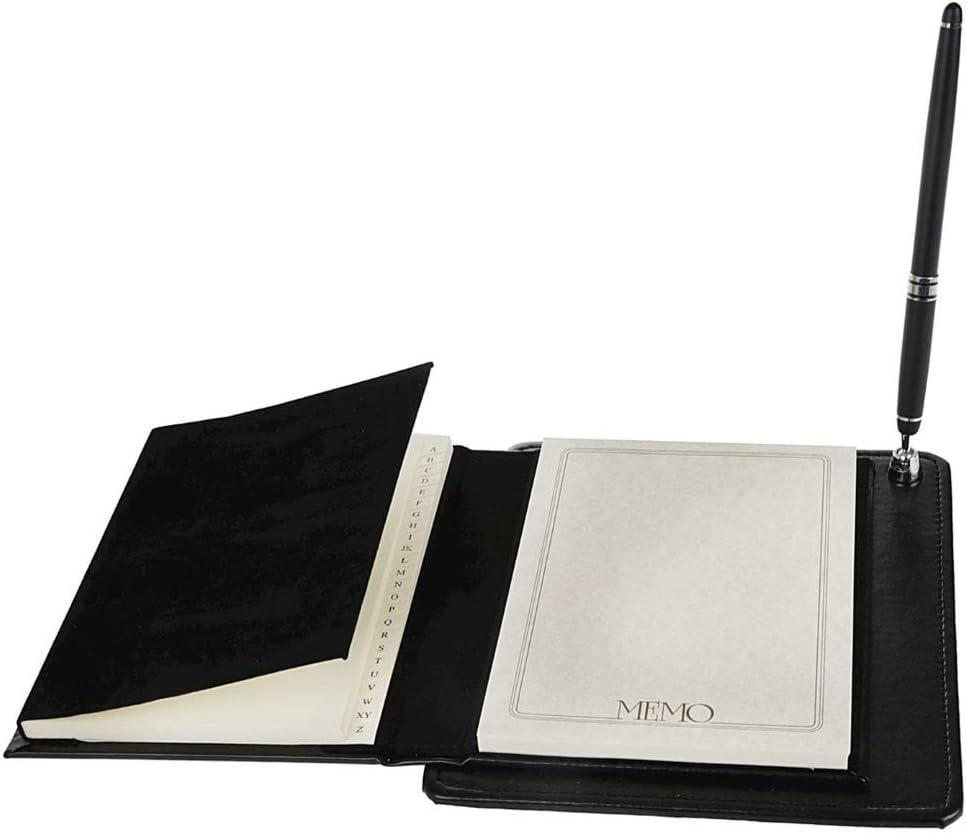 rubrica e Penna,Cover in Ecopelle Nero con Placca in Laminato Argento Set da Scrivania con Agenda