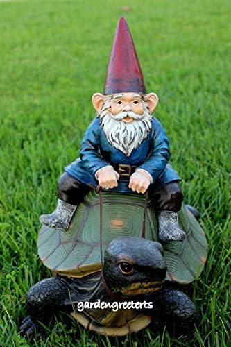 GNOME ON Turtle Statue GNOME ON Turtle Figurines