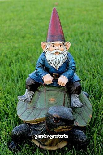 GNOME ON Turtle Statue GNOME ON Turtle Figurine