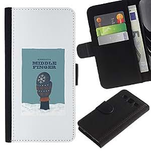 Be Good Phone Accessory // Caso del tirón Billetera de Cuero Titular de la tarjeta Carcasa Funda de Protección para Samsung Galaxy S3 III I9300 // Middle Finger Snow Humor Minnesota Glove Art