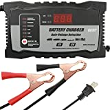 Charger Maintainer 6Amp Battery Charger Auto Voltage Detection 6Volt 12Volt with 2Amp Car Battery Charger Float Charger Maintainer for Lead Acid Battery