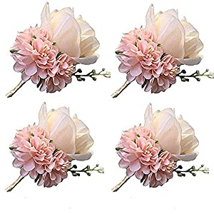 WeddingBobDIY Boutonniere Buttonholes Groom Groomsman Best Man Rose Wedding Flowers Accessories Prom Suit Decoration (4,Champagne)