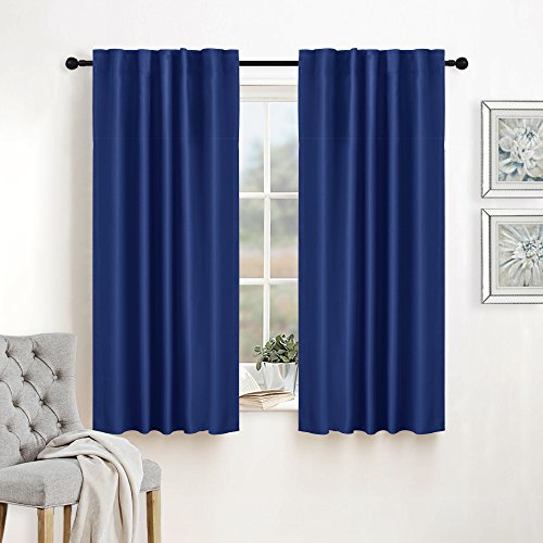 Blue Pleated Drapes (Window Treatment Blackout Curtains Draperies - RYB HOME ( 42 in wide by 45