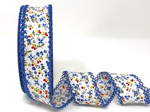 Byetsa Blue Floral Double Lace Edge 36mm Bias Tape on a 25m Roll by Byetsa