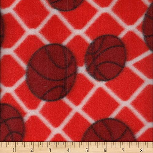 - Textile Creations Campus Sports Fleece Basketballs Orange/White Fabric Fabric by the Yard