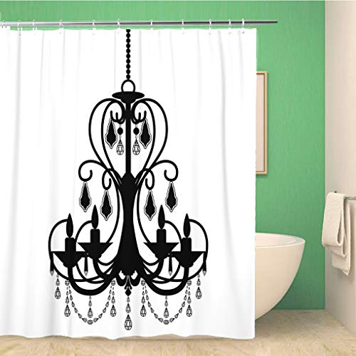 Awowee Bathroom Shower Curtain Ancient Chandelier Silhouette Antique Baroque Black Candelabra Candelabrum Candle 72x78 inches Waterproof Bath Curtain Set with Hooks