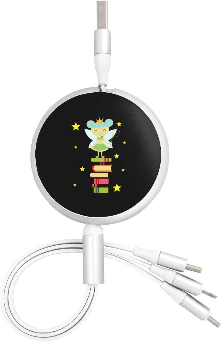 for Mobile Phones and Tablets Book Fairy Reading is Magical Book Lover Universal 3 in 1 Multi-Purpose USB Cable Charging Cable Adapter Micro USB Port Connector