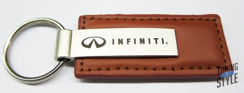 Au-Tomotive Gold Infiniti Logo Brown Leather Key Chain INC