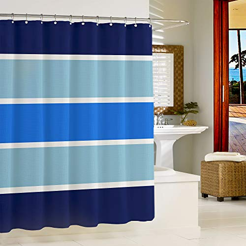 """Lady Roma OKEANOS Shower Curtain (59""""x71"""") Blue Pattern, Water Proof, Polyester, Hotel Luxury, Spa, Included with 12 Curtain Hooks."""