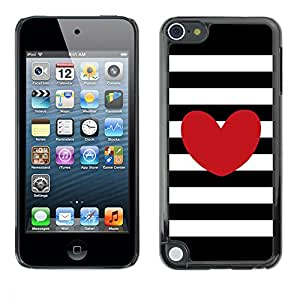 PC/Aluminum Funda Carcasa protectora para Apple iPod Touch 5 Stripes Horizontal Love Black White / JUSTGO PHONE PROTECTOR