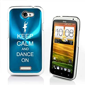 Light Blue HTC One X AT&T Aluminum Plated Hard Back Case Cover P91 Keep Calm and Dance On