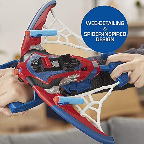 51%2BD1pac7WL - Spider-Man Web Shots Spiderbolt Nerf Powered Blaster Toy for Kids Ages 5 & Up