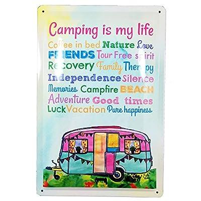 AnneSvea Camping is My Life! Blechschild Metall Wohnwagen Vintage Deko Vanlife Camper Bus Womo Aquarell englisch
