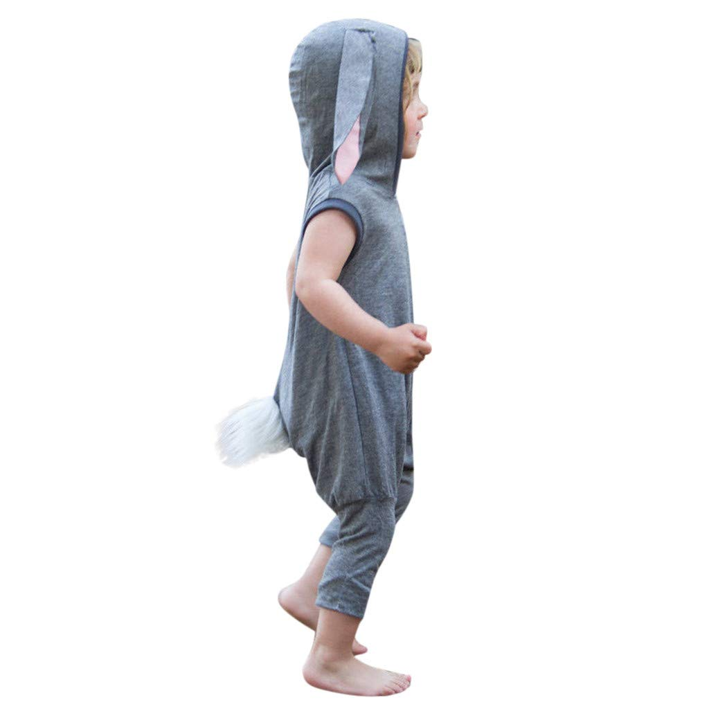 Mysky Toddler Kid Baby Easter Fashion Bunny Rabbit Summer Casual Comfy Cotton Romper Jumpsuit