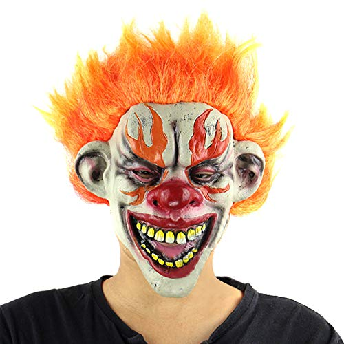 Finerplan Halloween Fire Clown Scary Mask Latex Full Face Creepy Big Mouth Horror Masks Masquerade Party Ghost House Cosplay Props - Latex Creepy