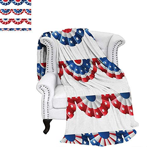(WilliamsDecor American Flag Weave Pattern Blanket Flag Round Bunting Election Ornament Politic Union Ribbon Event Pattern Print Digital Printing Blanket 90