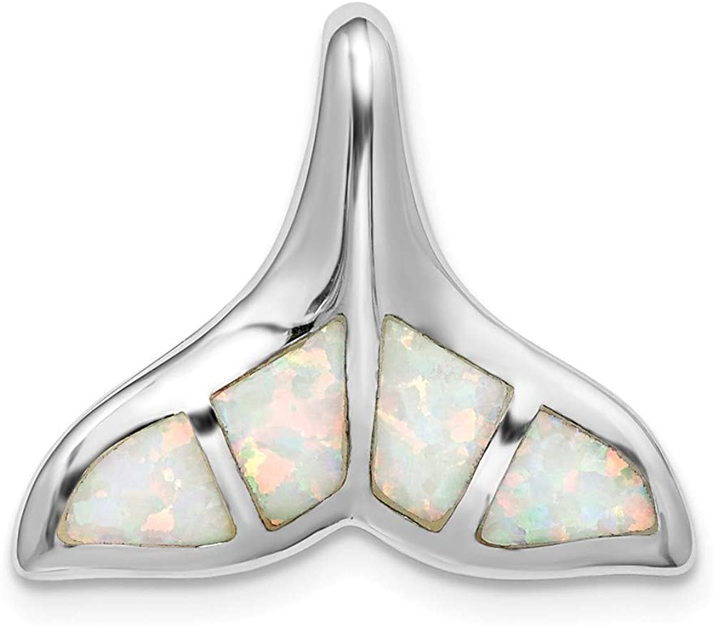 DiamondJewelryNY Sterling Silver Rhodium-Plated Created Opal Inlay Whale Tail Chain Slide
