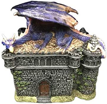 DWK 8 Guardian of Bibliophiles Decorative Medieval Gothic Dragon Trinket Stash Box Statue with Magical Hidden Book Secret Storage Compartment for Fantasy Home Decor