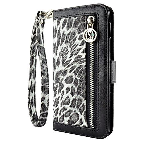 caseen Leopard Print iPhone 6 Plus   6S Plus Wallet Case (Black ... 28500f85e