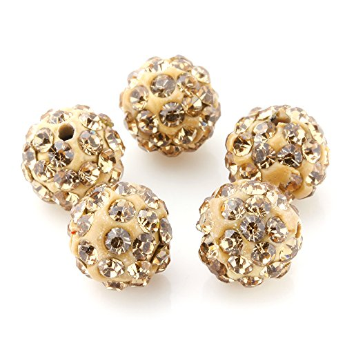 Charisma 20pcs 10mm Light Smoked Topaz Crystal Rhinestone Disco Ball Pave Beads Round Charms for Jewelry Makings DIY - Topaz Disco Ball