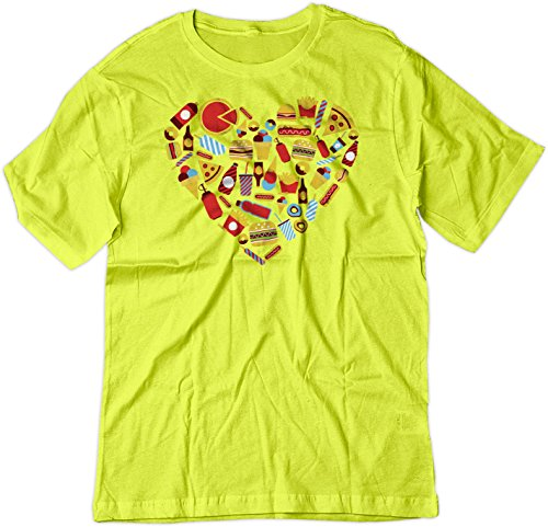 Price comparison product image BSW Youth Fast Food Heart Love Burger Pizza Fries Theme Shirt XS Yellow