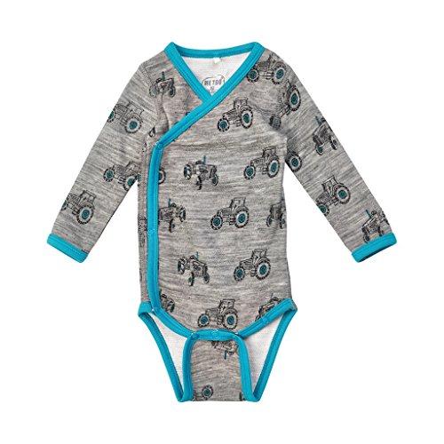 Me Too Merino Wool/Bamboo Long Sleeve Onesie - Grey/Turquoise (3M-9M) - Long Sleeve Bamboo Kimono