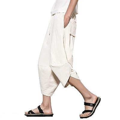 HX fashion Sarouel pour Homme Bloomers avec Deux Poches De Tailles  Confortables Couleur Unie Pantalon Décontracté Pantalon Sarouel Vetement  (Color  Blanc,