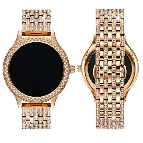 Allies Ladies Watch (Diamante Watch Band for Fossil Q Venture, 18MM Crystal Rhinestone Diamond Stainless watch band for Q Venture,Rose Gold)