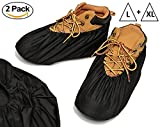 Reusable Boot and Shoe Covers - Premium Booties for Contractors Non Slip Washable | Large and Extra Large in Black (2 Pack)