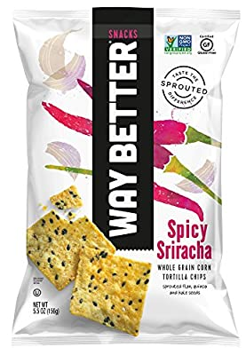Way Better Snacks Sprouted Gluten Free Tortilla Chips, Simply Spicy Sriracha, 5.5 oz bags, 12 Count