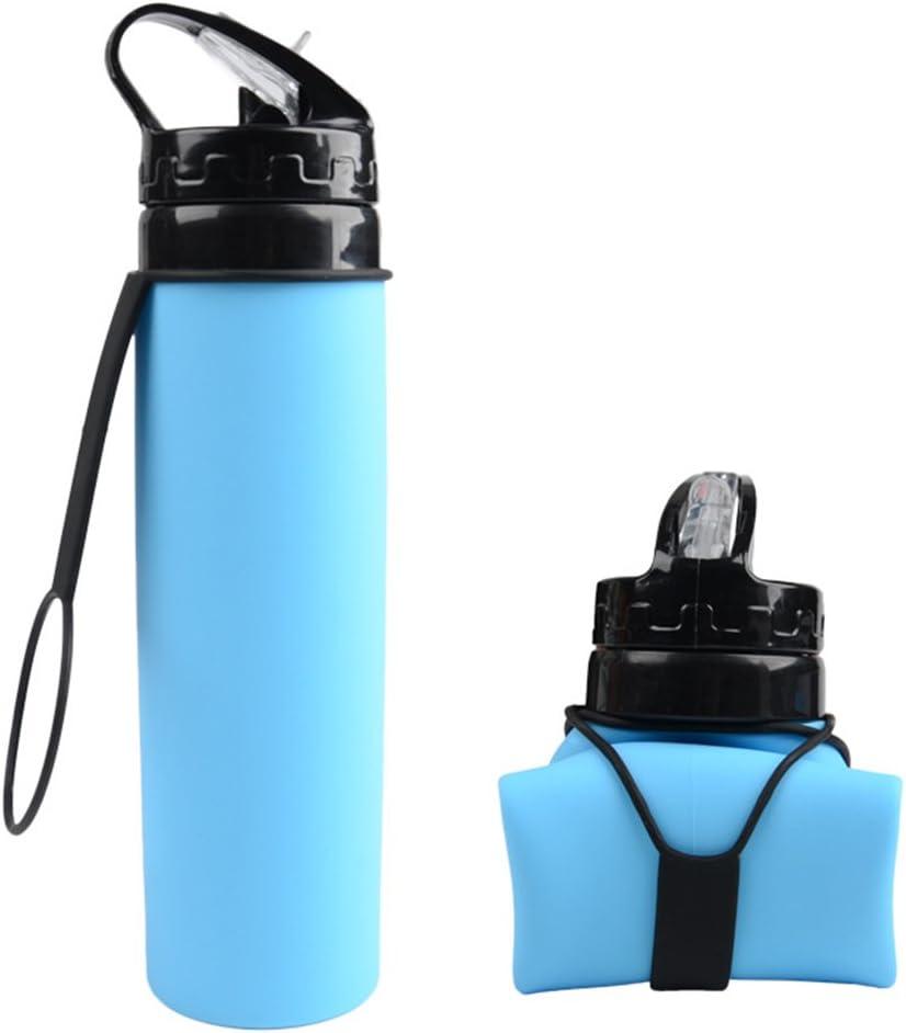 LIOOBO Botella de Agua Plegable de Silicona Botella de Bebida Deportiva BPA Gratis 600 ml para Bicicletas de Senderismo al Aire Libre (Azul)