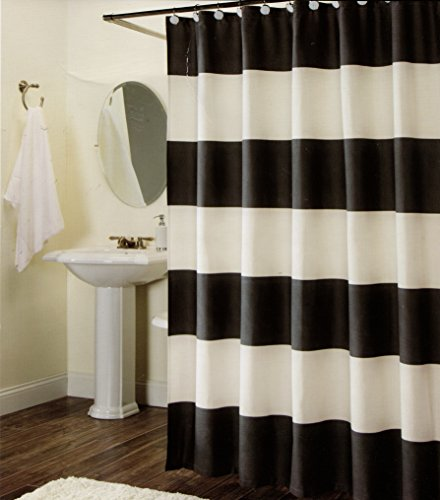 Max Studio 100% Cotton Shower Curtain Wide Stripes Fabric