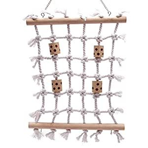QBLEEV Parrot Climbing Net Cotton Rope Bird Cage Wood Hemp Rope Ladder Toy Play Gym Hanging Swing Net Parrot Perch Hammock Toy Decor for Parakeet Macaw Parrotlet Grey African Cockatoo 21