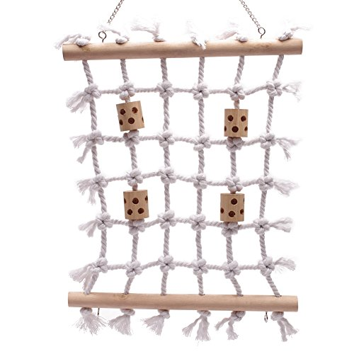 QBLEEV Parrot Climbing Net Cotton Rope Bird Cage Wood Ladder Toy Play Gym Hanging Swing Net Parrot Bird Cage Hammock Toy Decor For Budgies Parakeet Macaw Parrotlet Grey African Finches by QBLEEV