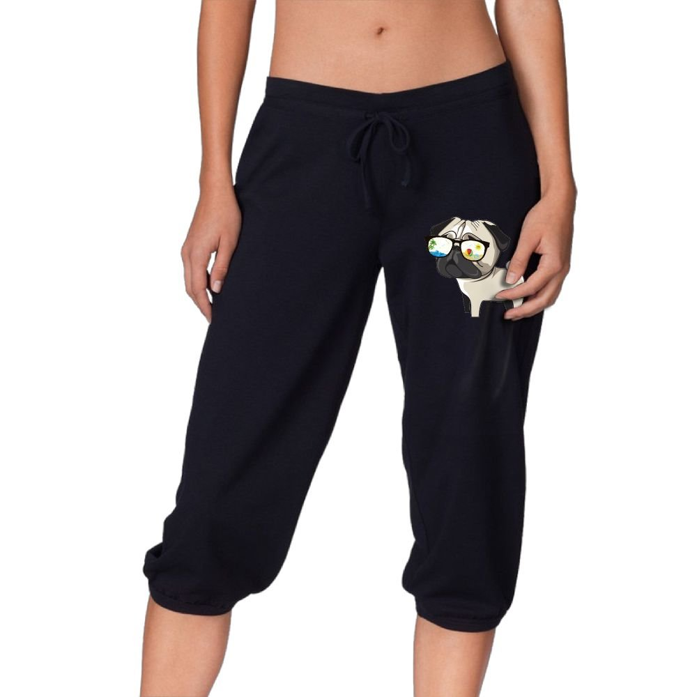 DJ5HN Bulldog Sunglasses Women Knee Pants Casual Three-Quarter Jersey Drawstring Pants