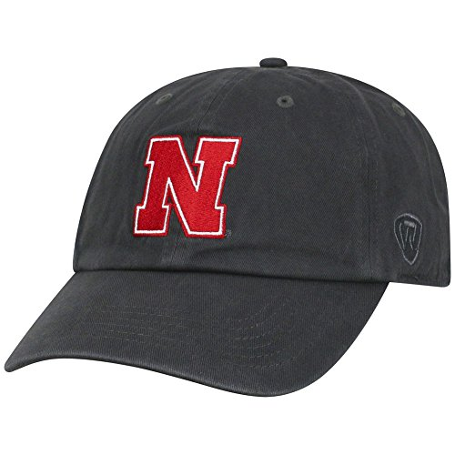 Top of the World NCAA Nebraska Cornhuskers Men's Adjustable Relaxed Fit Charcoal Icon Hat, Charcoal