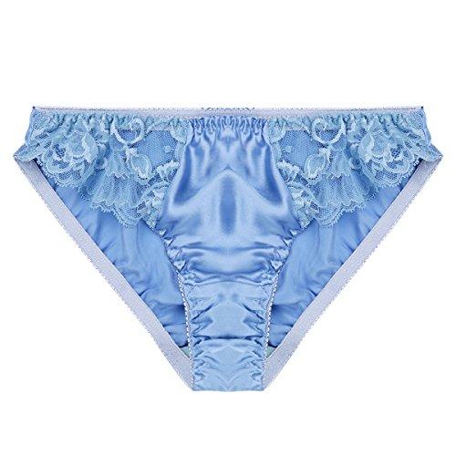 YiZYiF Women Sexy Silk Lace Panties Soft Smooth String Bikini Briefs Stretchy Thongs Light Blue (Blue Lace Thong Panties)
