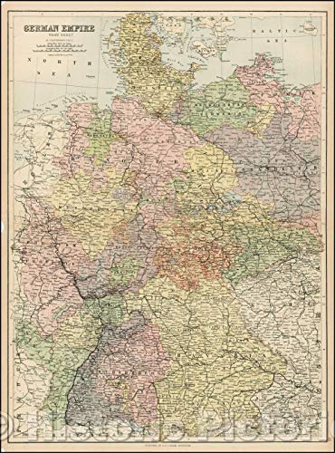 Historic Map | German Empire West Sheet, 1869, Adam & Charles Black | Vintage Wall Art 44in x 60in