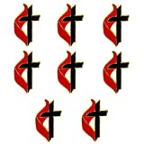United Methodist Cross & Flame Lapel Pins, Gold Set of 8 UMC