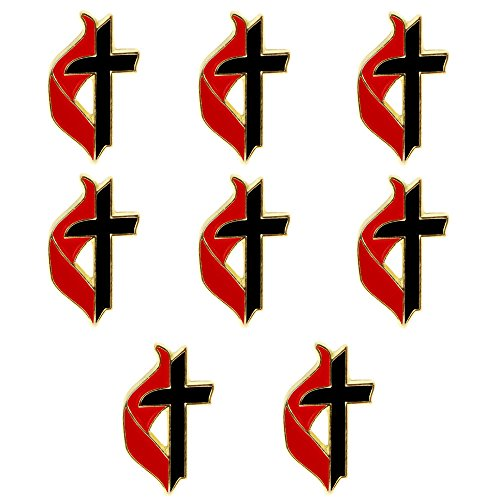 United Methodist Cross & Flame Lapel Pins, Gold Set of 8 UMC by Sterling Gifts