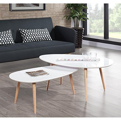 Stone Table Basse Ovale Scandinave Blanc Laque L 88 X L 48 Cm