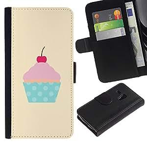 Paccase / Billetera de Cuero Caso del tirón Titular de la tarjeta Carcasa Funda para - cherry yellow polka dot cupcake pink - Samsung Galaxy S3 MINI NOT REGULAR! I8190 I8190N